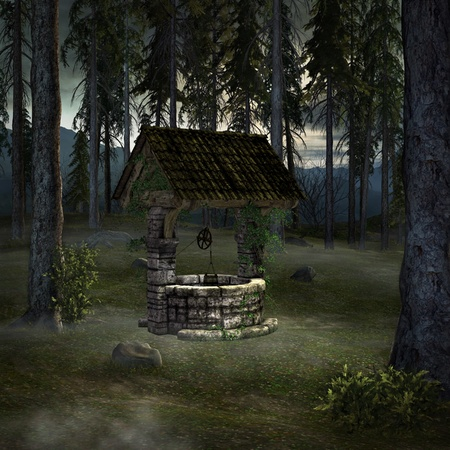 Old well on a clearing illustration Stock Illustration - 11367267