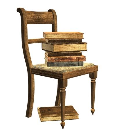 Geïsoleerde Stoel met stapel boeken Stockfoto