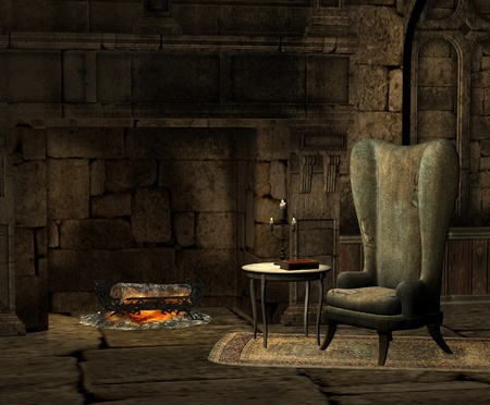 cozy: Old room with fireplace Stock Photo