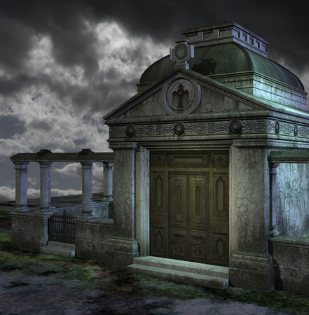 mausoleum: Storm at a graveyard Stock Photo