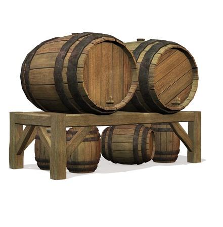 Isolated illustration of barrels