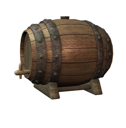 beer barrel: Isolated illustration of a wooden barrel Stock Photo