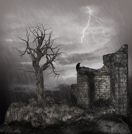Old tower ruin in a storm photo