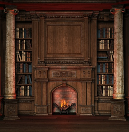 fireplace: Old room with bookshelves