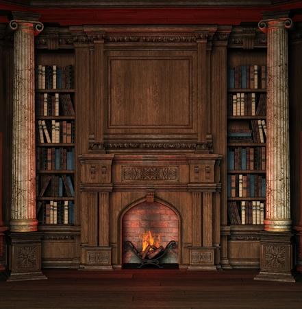 ohniště: Staré pokoj s regály