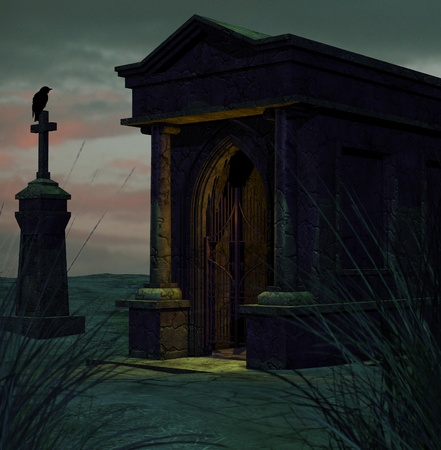 spooky graveyard: Illustration of an old graveyard Stock Photo