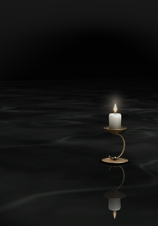 lonelyness: Lonely Candle in the darkness Stock Photo