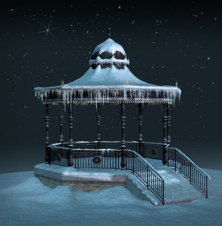 starshine: Pavilion in an ice cold night