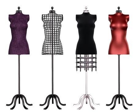 mannequin: La raccolta isolata di forme abito in diversi colori Archivio Fotografico