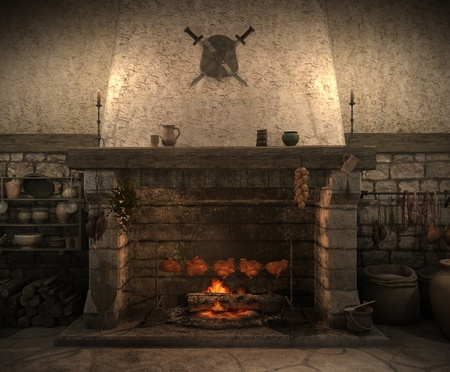 castle wall: Illustration of an old castle kitchen Stock Photo