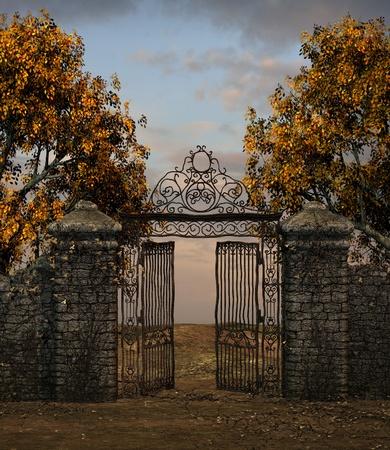 puertas de hierro: Ilustración de una antigua puerta