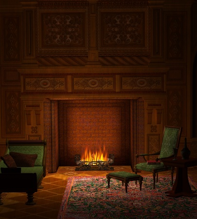 Cozy room with fireplace Stock Photo - 13035604