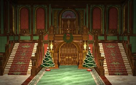 advent wreath: Christmas Hall Stock Photo