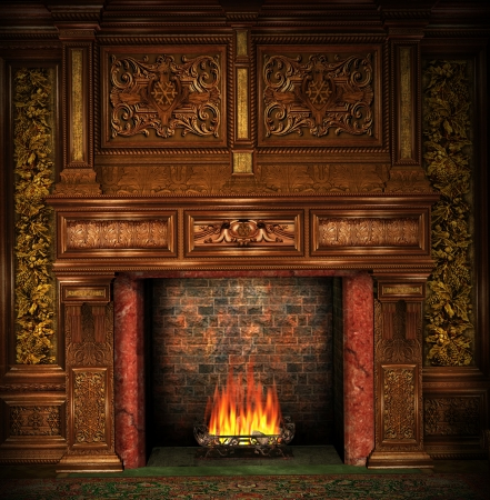 manor: Fireplace in an old mansion