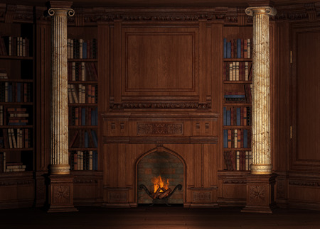 fireplace: Old mansion with fireplace and library