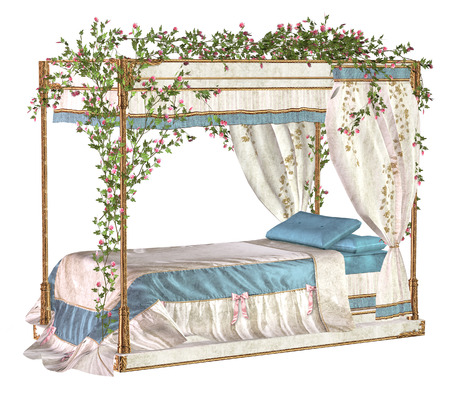 four poster bed: fairy tale bed Stock Photo
