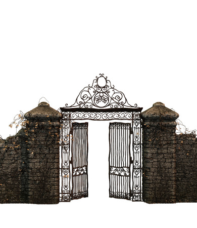 puertas de hierro: aislado antigua puerta Foto de archivo