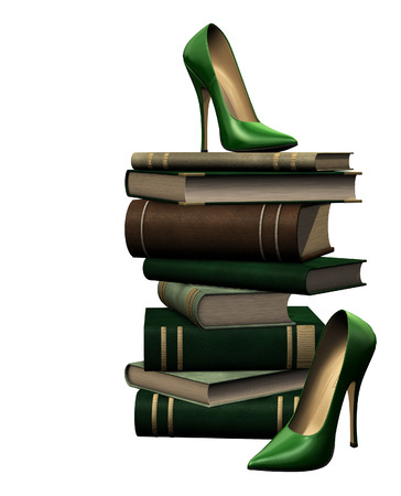 isolated illustration of books and shoes Stock Photo