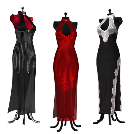evening dresses: Isolated illustration of evening dresses