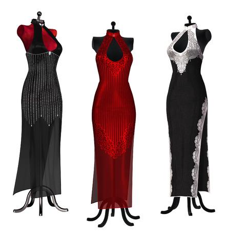 evening dresses: Isolated illustration of evening dresses