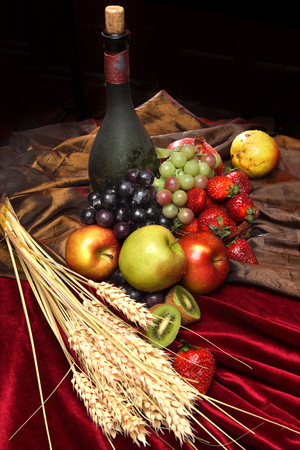 iron curtain: Dutch still life on a velvet tablecloth of juicy fruits, dusty old bottle of wine and ears of wheat, vertical.