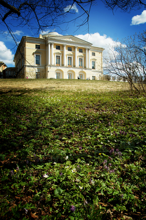 A beautiful antique yellow mansion stands on a hill in the park, in the foreground there are spring flowers blossoming