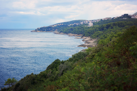 View of the sea bay from the mountain, overgrown with green shrubs, houses and hotels on the coast, horizontal.