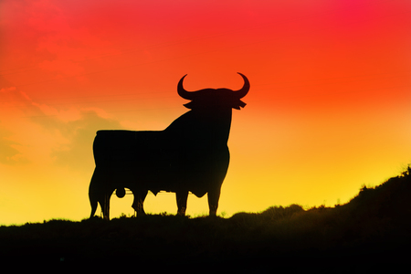 Symbol of Spain - a black bull built from metal against a background of a bright sunset colors of the Spanish flag