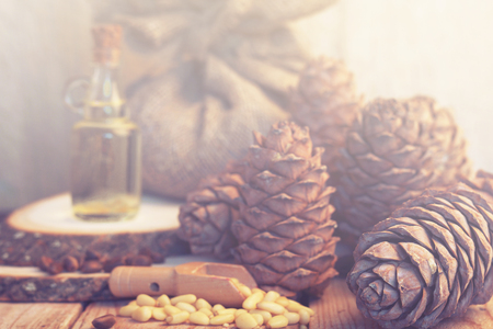 Oil in a glass bottle stands on wooden log houses surrounded by cedar cones and nuts, morning light Stock Photo