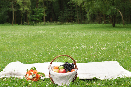 Summer picnic on a green glade with fruit and wine in a basket. Stock Photo