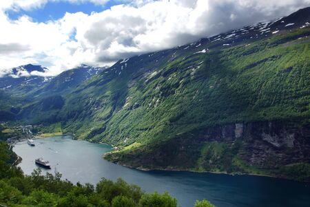 Travel to Norway, the great fjord, ends in the town where large tourist liners stick