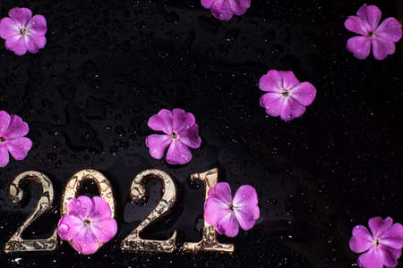 Bright pink flowers and numbers 2021 on a black black background with water droplets