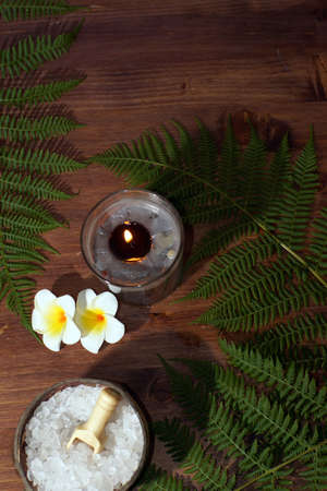 spa set with burning candles of plumeria flowers white and green fern Imagens