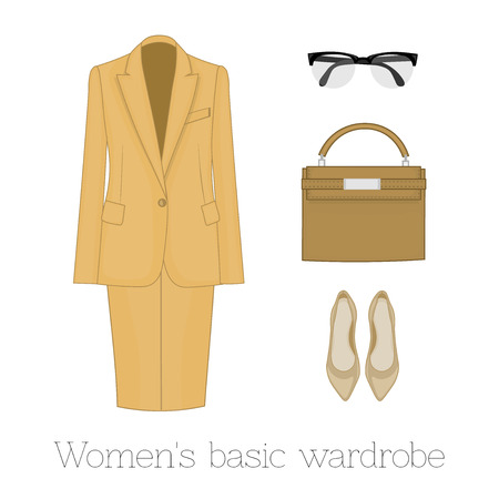 Women's basic wardrobe set: dress, shoes, eyeglasses, bag