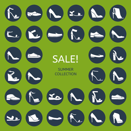moccasin: Shoes for all occasions: shoes, sandals, sneakers, boots. Vector flat colorful icon set