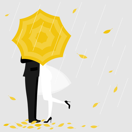 Man and a woman under yellow umbrella.