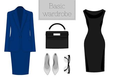 Lady fashion set of office outfit. Illustration stylish and trendy clothing. Basic wardrobe. Jacket, skirt, bag, dress, shoes and eyeglasses
