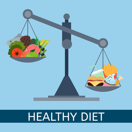 Scales. Selection of healthy and junk foods. Diet. Healthy food. Vector flat illustration.