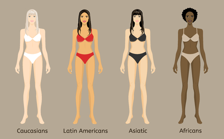 Figure four young women in lingerie isolated. Caucasian, Asian, African and Latin American. The template for your design