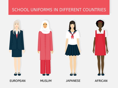 europeans: Four girls in school uniform: Europeans, Arab, Japanese and African