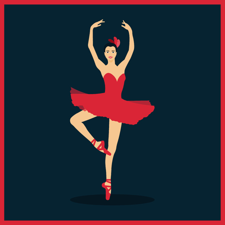 Beautiful ballerina in a red dress on a dark background. Vector Illustration of a Ballet dancer girl. Classical dance Illustration