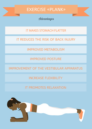 African woman performing an exercise Plank. Benefits of exercise