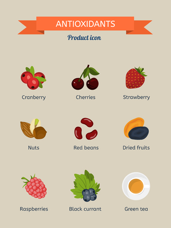 cranberries: Antioxidants. Set of icons: cranberries, strawberries, cherries, nuts, beans, dried fruit, raspberry, black currant, green tea Illustration