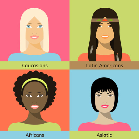Four female faces: Europeoid, Asian, African and Latin American