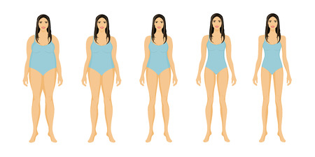 Fat and slim girl. Woman body before and after weight loss, diet and fitness