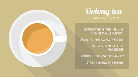 Oolong tea: properties and health benefits. Cup of beverage, top view