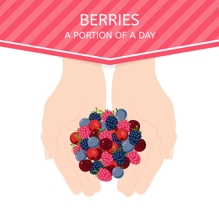 optimum: Female hands hold fresh berries. The optimum size of the daily portion of berries. Raw food diet