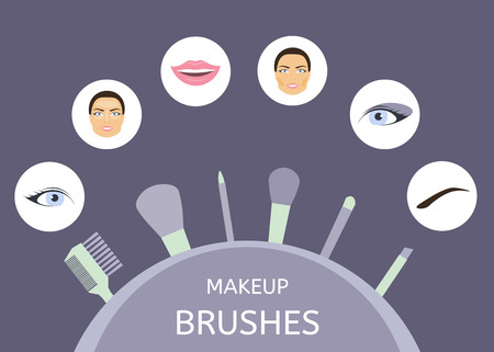 Makeup brushes. Information on their purpose and use. Eyes, lips, face, eyebrows, inscribed in a circle
