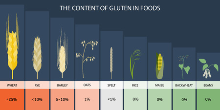 spelt: The content of gluten in foods. infographics