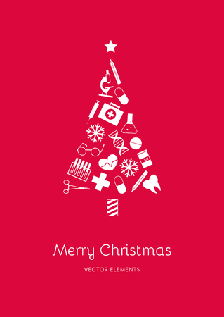 White medical icons in the shape of a Christmas tree on a red background. Vector elements for New Year